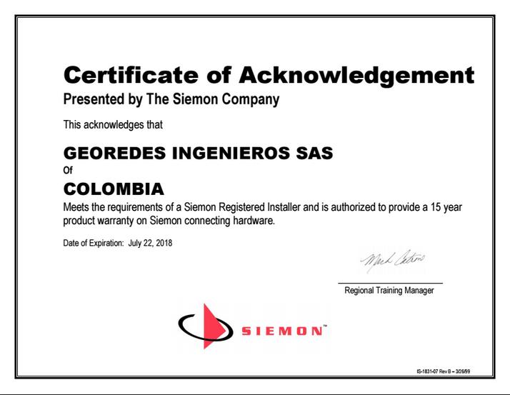 Certificación SIEMON